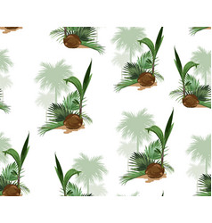 beautiful tropical vintage palm trees and coconut vector image