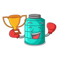 Boxing winner cartoon water tank for in vector