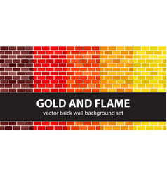 brick pattern set gold and flame seamless brick vector image