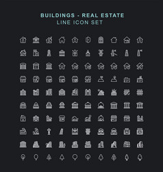 buildings line icon set vector image