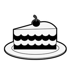 Cake slice with cherry on top pastry icon image vector