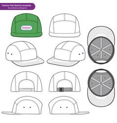 Camp cap set fashion flat technical drawing vector