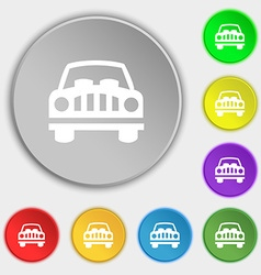 Car Icon sign Symbol on eight flat buttons vector