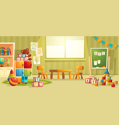 Cartoon interior of kindergarten room vector