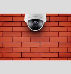 cctv security camera on brick wall vector image