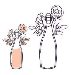 champagne bottle with flowers line art isolated vector image