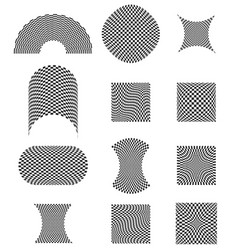 Checkered planes with different distortion effects vector