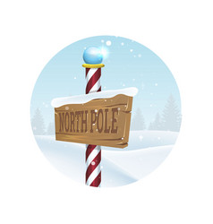 Christmas landscape with north pole sing vector