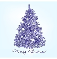 christmas tree with balls hand drawn vector image vector image