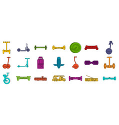 city transport icon set color outline style vector image