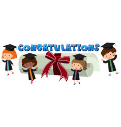 Congratulations theme with kids and degree vector