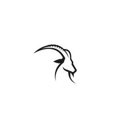 creative black goat head logo design vector image