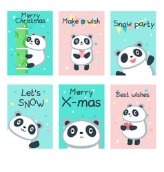 Cute panda christmas cards template set vector