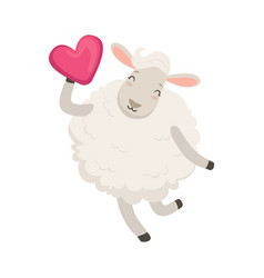 Cute white sheep character having fun with pink vector