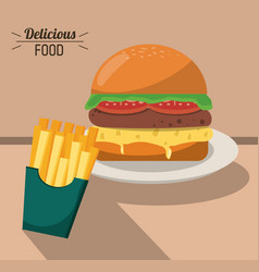 delicious food fast burger and french fries vector image