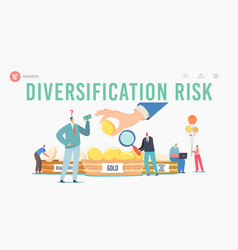 Diversification risk landing page template vector