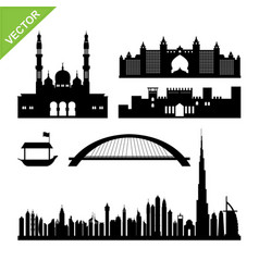 Dubai uae landmark and skyline silhouettes vector