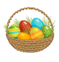Easter basket with colored vector