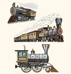 Engraved vintage hand drawn old locomotive or vector