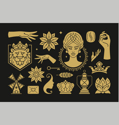 Esoteric magic and witch design elements vector