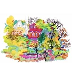 Felt-tip pen autumn rural landscape vector image