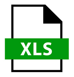 File name extension xls type vector