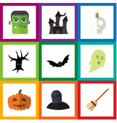 flat icon celebrate set of terrible halloween vector image