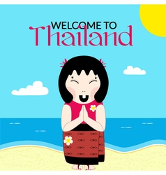 Flat thai woman with namaste vector