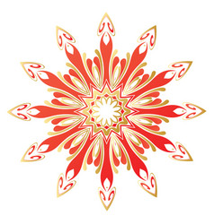 Floral gold and red round ornament vector