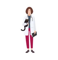 friendly veterinary physician veterinarian or vet vector image