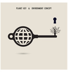 Globe key symbol with the dead tree sign vector image