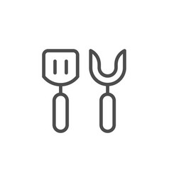 Grill and barbeque tools line outline icon vector