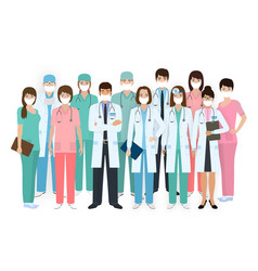 Group doctors and nurses with medical vector