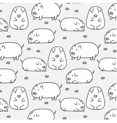 hand drawn cute pig pattern vector image