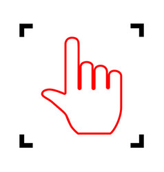 hand sign red icon inside vector image