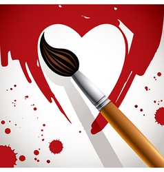 Heart painted with brush vector