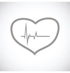 Heartbeat black icon vector image