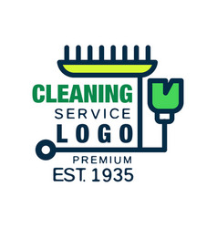 house and office cleaning company logo in line vector image