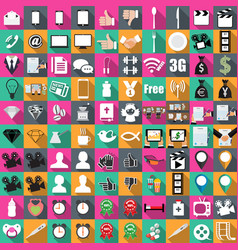icons of color in flat 100 pieces business vector image
