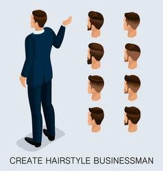 isometric businessman set mens haircuts vector image