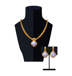 Jewelry set golden necklace and earrings on black vector