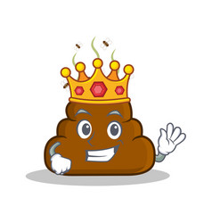 King poop emoticon character cartoon vector