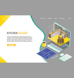 kitchen design landing page website vector image