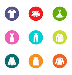 leather apparel icons set flat style vector image