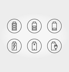 line battery icon set vector image
