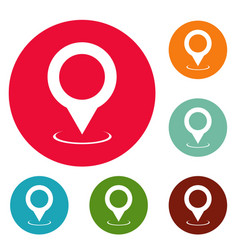 map pointer icons circle set vector image