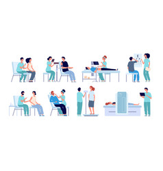 medical check up doctor checking patient eyes vector image