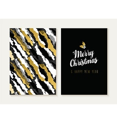 Merry christmas new year gold retro pattern card vector