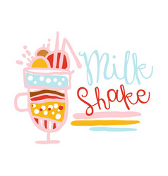 Milk shake logo design badge for restaurant bar vector