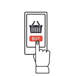 Mobile shopping button flat design vector image